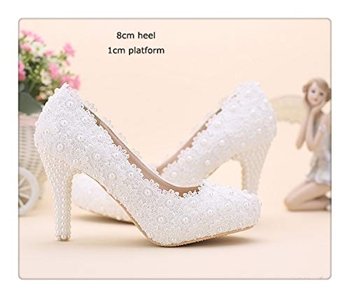 HCHBE& Women Fashion Sweet White red Flower Lace Platform High Heels Pearls Rhinestone Wedding Shoes Bride Dress Shoes White 8cm Heel 7.5