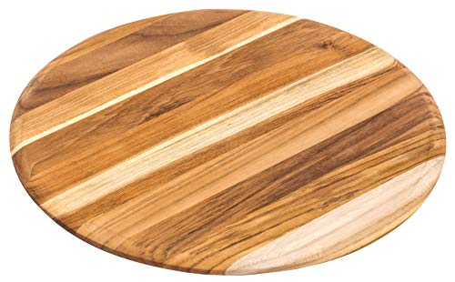 Circle Cheese Board - Teakhaus Giant Cutting and Serving Board - Large Round Teak Woods Carving Board - Slim and Lightweight (13x13)