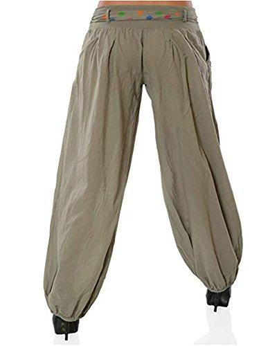 A Uni Pantaloni Con Forti Colori Yoga Cachi Donna Harem Cintura Taglie Sbuffo FwXg4qF