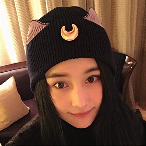 Cap Harajuku - Anime Sailor Moon Cap Cosplay Costume Props Hat Luna Cat Ear Knitted Women Fashion Autumn Winter - Hatchet Anime Kids Mustard Boys Purple Police Toddlers Strap Pickle Toddle]()