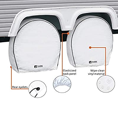 Classic Accessories OverDrive Deluxe RV & Trailer Wheel Cover, 4-Pack, White, (For 24