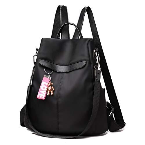 puhoon Travel Anti-Theft Nylon Daypack, Girl School Backpack with Bear Pendant (Black)