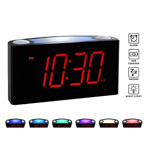 "Rocam Home LED Digital Alarm Clock - 6.5"" Large Red Display"