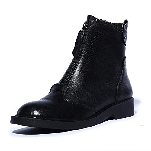 GTYW Ladies High Heels Women's Boots Short Martin Boots First Layer Of Real Leather Side Zipper Autumn and Winter Large Size Women's Shoes BlackCashmere