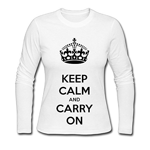Qear Keep Calm And Carry On Women's Long-sleeved Round Neck T-shirts White M