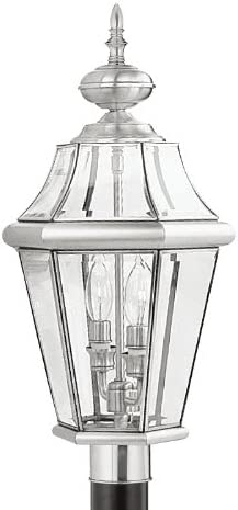 Livex Lighting 2264-91 Outdoor Post with Clear Beveled Glass Shades, Brushed Nickel