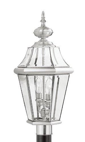 Livex Lighting 2264-91 Outdoor Post with Clear Beveled Glass Shades Brushed Nickel