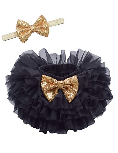 Baby Girls Tutu Bloomers Diaper Cover Cotton Tulle Bloomers and Headband Set Gold 2-3 Years