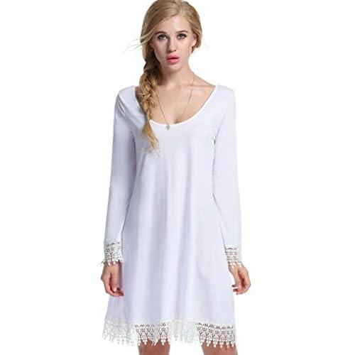 eea44a7b6510d chic Halife Women s Short Long Sleeve Tunic Lace Hemline Casual Loose T  Shirt Dress