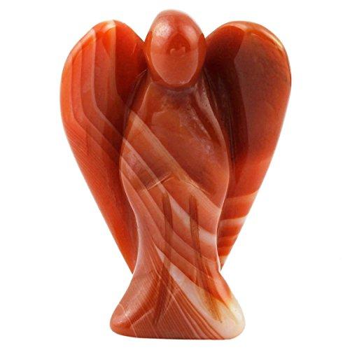 rockcloud Healing Crystal Gemstone Carved Pocket Crystal Guardian Angel Figurines 1.5 inch