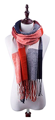 Rayon Blanket Plaid - Classic Winter Scarf Women Blanket Plaid Scarf Cashmere Female Shawls and Scarves Warm Women Tassel (Red and blue)