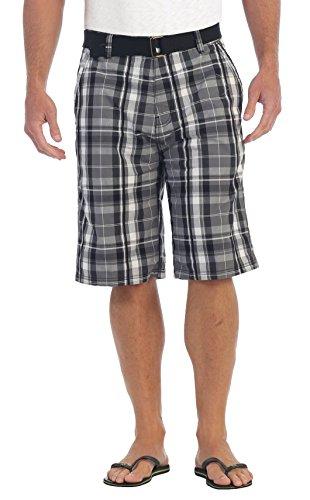 Gioberti Mens Plaid Shorts with Belt, 5 Pockets, Gray/Charcoal, Size 40