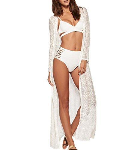 Women's Long Lace Kimono Cover Up Cardigan Maxi Bikini Swimsuit cover up(White)