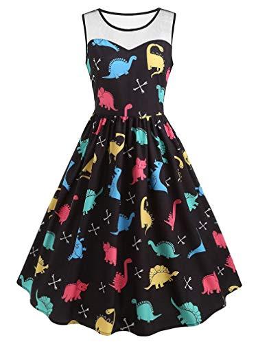 Vanbuy Womens Sweethear Neckline Sleeveless Mesh Patch Dinosaur Print High Waist Rockabilly Brithday Party Swing Dress Z288-139-Black-XL -