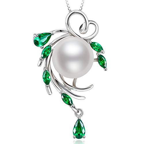 (HXZZ Fine Jewelry Gifts for Women 925 Sterling Silver Freshwater Cultured White Pearl Pendant Necklace Green Hope)