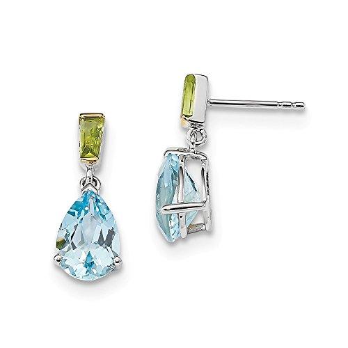 (925 Sterling Silver 14k Sky Blue Topaz Green Peridot Post Stud Earrings Drop Dangle Fine Jewelry Gifts For Women For Her)