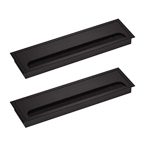 LIKERAINY Cable Bushing Desk Table Grommets 80x 280mm Cable Outlet Tidy Cover Insert Rectangular Cube Wire Organiser Aluminum Anodised Black Pack of 2