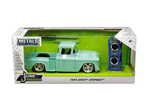 1955 Chevy Stepside Pickup Truck, Light Turquoise - Jada 30197-MJ - 1/24 Scale Diecast Model Toy Car ()