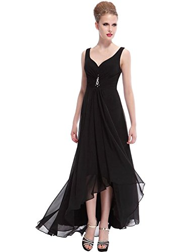 Azbro Women's Elegant Sleeveless High Low Evening Prom Dress Black