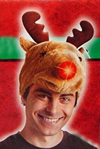Light Up Festive Plush Adult Rudolph the Red-Nosed Reindeer Christmas Hat