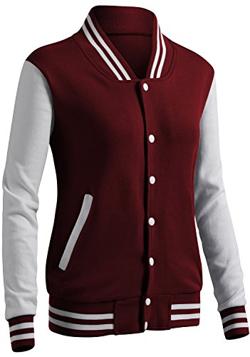 CLOVERY Women's Baseball Uniform Style Long Sleeve Jacket Wine L -
