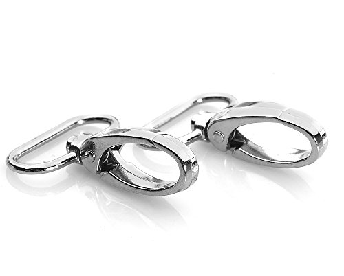 HI-BOOM Pack Of 20 Metal 1 Inches Silvery Curved Lobster Clasps Swivel Trigger Clips Snap (Lobster Swivel)
