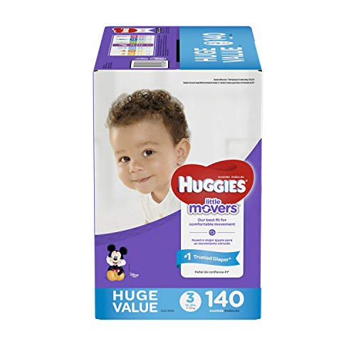 HUGGIES LITTLE MOVERS Diapers, Size 3 , 140 Ct., HUGE PACK
