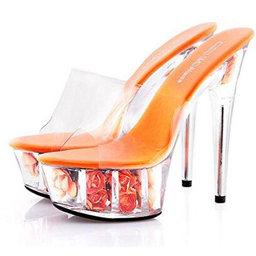 Para Fondo Zapatillas Llp Mujer Tacones Fina Grueso F Sandalias Flores Zapatos De Con Altos Cristal Plataforma Impermeable vwwF5q