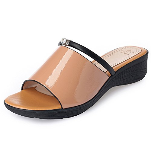 LIXIONG zapatillas Hembra verano Fondo suave Casual Antideslizante Acogedor Wedgies zapato, Altura del tacón 3.5cm, 3 colores -Zapatos de moda (Color : Rojo, Tamaño : EU36/UK4/CN36/230) Amarillo
