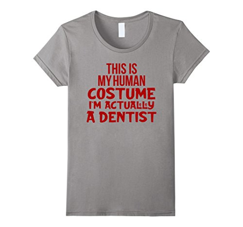 [Womens Funny Dentist Halloween Costume Shirt For Men Women and Kids XL Slate] (Funny Dentist Costume)