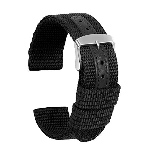 Ullchro Nylon Watch Strap Replacement Canvas Watch Band Military Army Men Women - 18mm, 20mm, 22mm, 24mm Watch Bracelet with Stainless Steel Silver Buckle (22mm, Black)