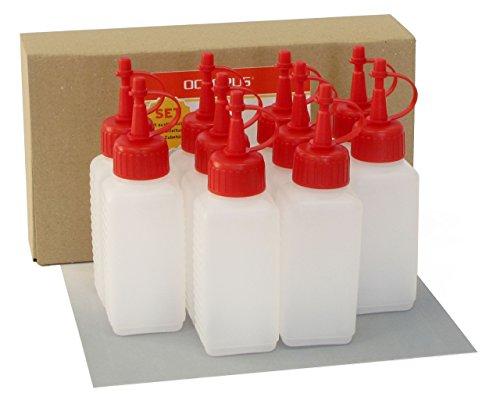 10 x 100 ml Kunststoffflaschen, Plastikflaschen aus HDPE mit roten Spritzverschlüssen bzw. Tropfverschlüssen, z.B. für E-Liquids / E-Zigaretten, chemikalienresistent