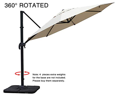 Mefo garden 11 Ft Offset Cantilever Umbrella, 360° Rotated Outdoor Patio Umbrella for Garden, Backyard with Cross Base, Round Canopy, Beige (Umbrella Deck Costco)