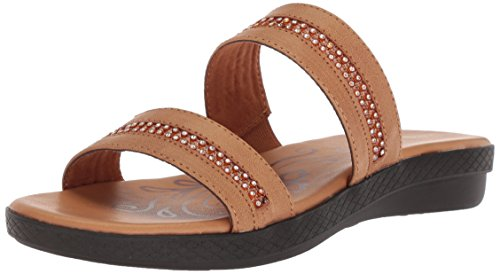 (Easy Street Women's Dionne Flat Sandal, Luggage, 9 W US)