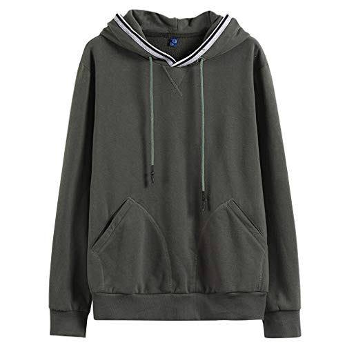 (iYYVV Fashion Mens Autumn Winter Warm Brushed Pullover Long Sleeve Hoodie Top Blouse Army Green)