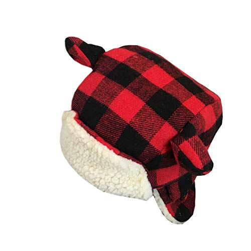 Checked Trapper - XueXian(TM) Baby Winter Warm Checked Bomber Ear Flaps Hat(Red)