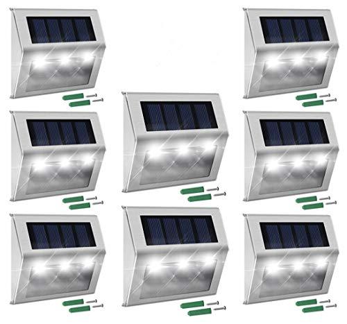 Solar Deck Lights, MEIO 8 Pack Stainless Steel Solar Deck Lights Outdoor Waterproof, LED Solar Powered Super Bright Deck Lights, Solar Fence Lights, Patio Solar Lights, Solar Outdoor Lights Wall Mount