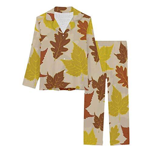 InterestPrint Long Sleeve Loungewear Notch Collar Pj Set Floral Pattern