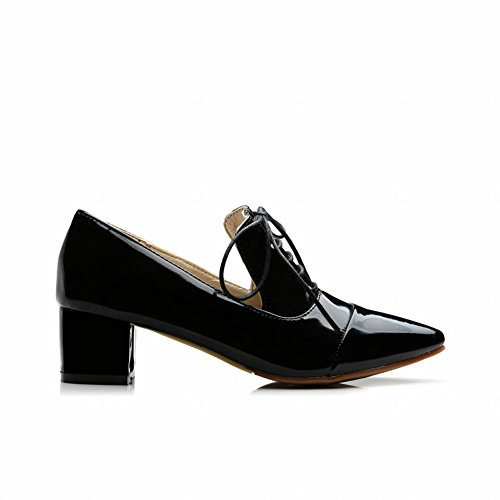 Pumps Simple Pointed up Carolbar Shoes Mid Toe Fashion Decorations Lace Black Womens Heel 0TTvxp