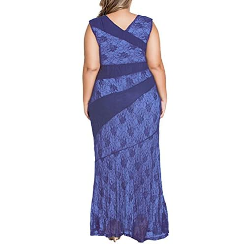 Veroge Womens Plus Size Sleeveless Lace Splice Mermaid Ball Prom Maxi Dress  70%OFF fbe6d102e474a