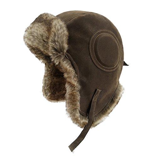 LETHMIK Winter Ski Aviator Hat Classic Unisex Pilot Hunting Trapper Hat NEW Cracking Brown