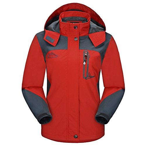 Diamond Candy Sportswear Women's Hooded Softshell Raincoat Waterproof Jacket Red 5 - Soft Ladies Rain Jackets Shell