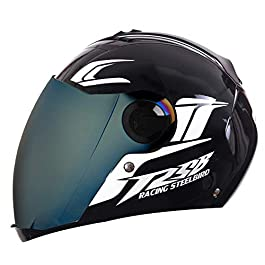Steelbird SBA-2 Moon Full Face Helmet with Reflective Graphics for Night Riding (580MM Medium, Dashing Black Helmet…