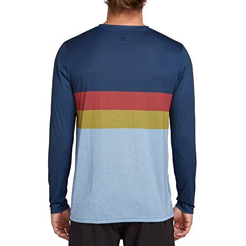 (Volcom Men's Lido Heather Block Long Sleeve Rashguard, Vintage Blue, Extra Large)