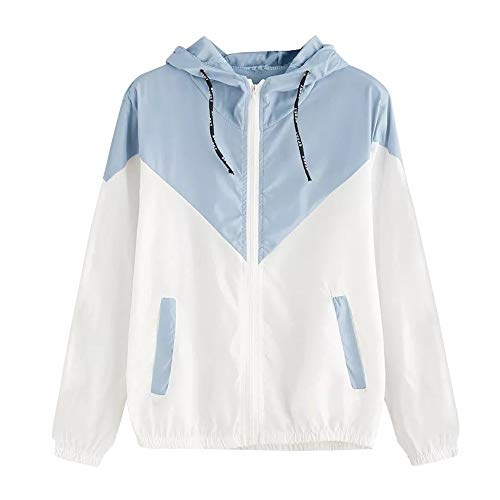 Women's Hooded Jackets,LuluZanm Sales! Ladies Long Sleeve Patchwork Thin Outerwear Zipper Pockets Sport Coat Sky Blue