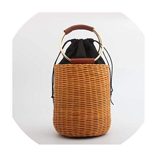 - Fashion Beach Handbags Ladies Hand Bag Tote Travel Clutch Bohemian Straw Bag Summer Wicker Basket Bag C105,Style 1 Brown,Mini(Max Length<20Cm)