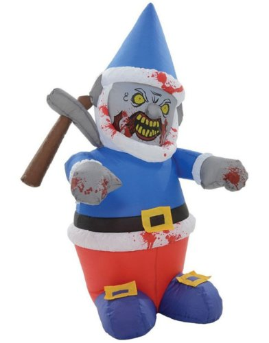 Halloween Inflatable-Zombie Gnome With Icepick-Halloween Yard Decoration (Lawn Gnome Costume)