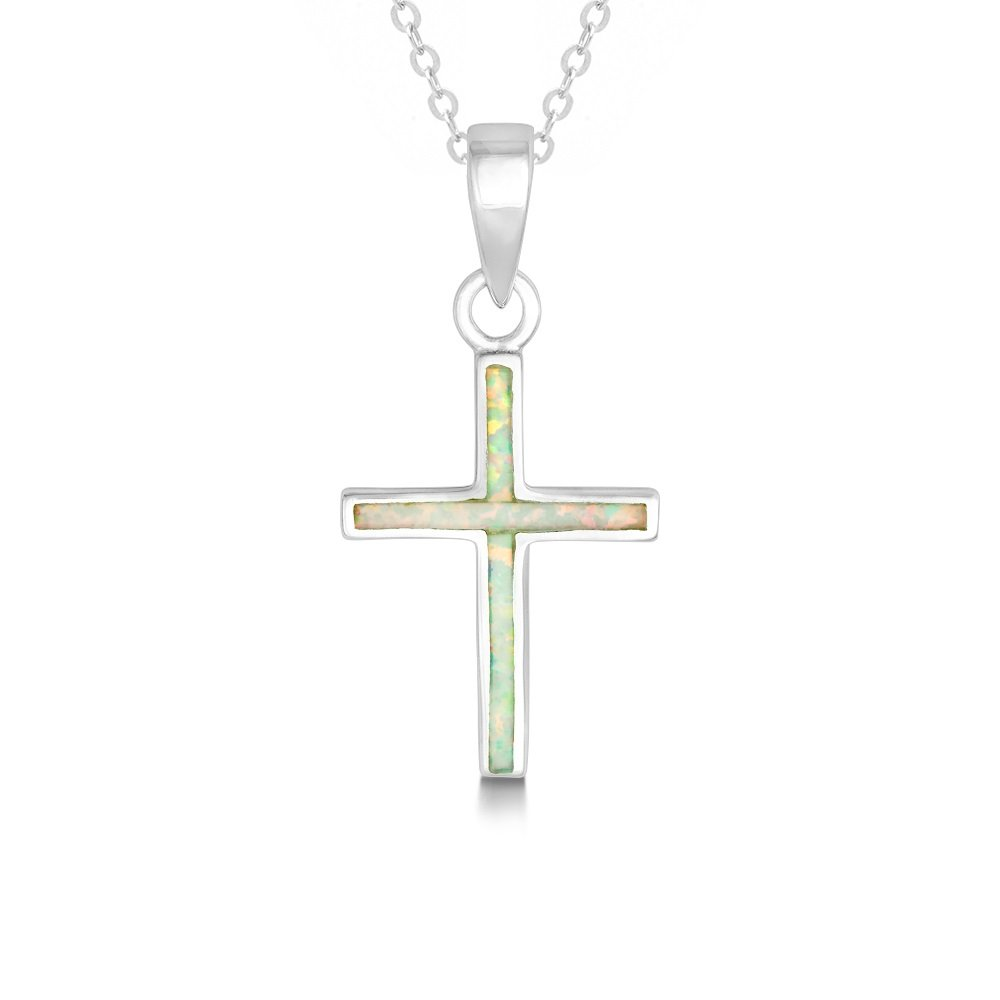 Beaux Bijoux Sterling Silver Created Opal Cross Pendant with 18 Chain