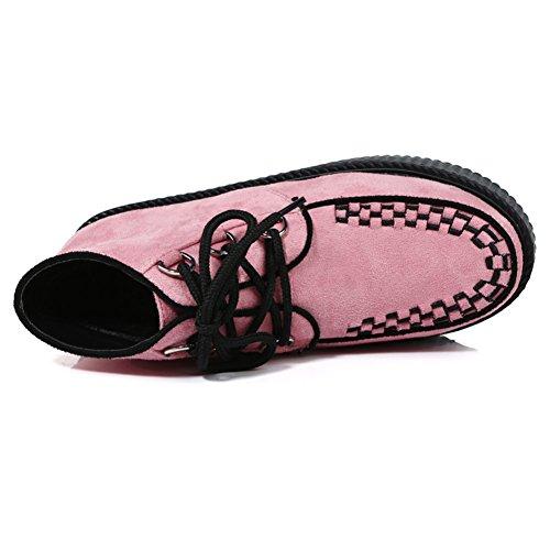 Cheville Femmes Chaussures Punk Plateforme Gothique Bottes Lacets Roseg Rose Creepers 4Yxw6Bwq