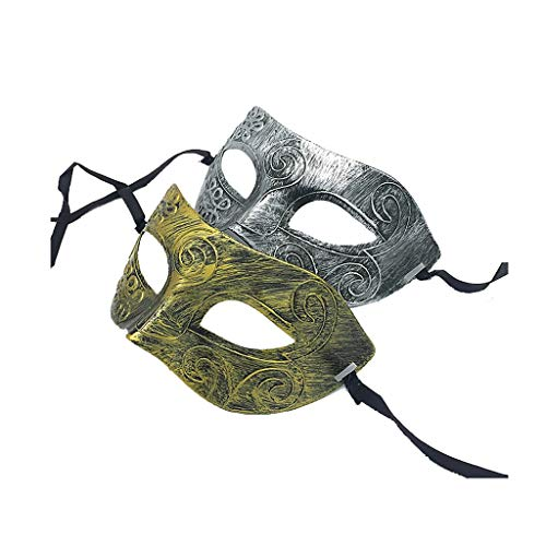 L-YOUXI Men's Masquerade Mask, Venetian Mask Costume Ball Easter Halloween (Color : Vintage Gold+Vintage Silver-a)]()